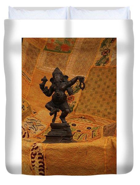 Bronze Ganesha Dancing Duvet Cover