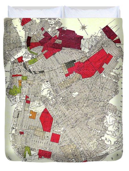 Brooklyn New York Racial Colonies Map 1920 Duvet Cover
