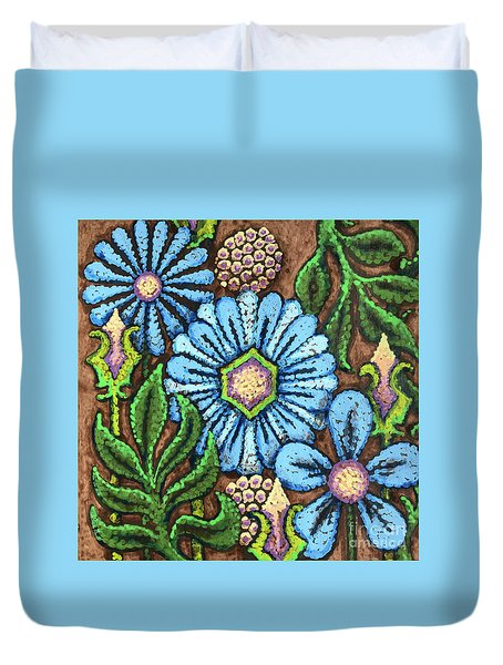 Brown And Blue Floral 1 Duvet Cover