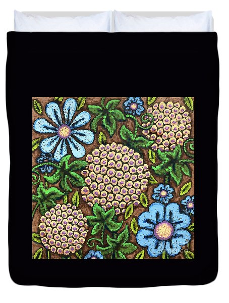 Brown And Blue Floral 3 Duvet Cover