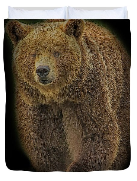 Brown Bear In Darkness Duvet Cover