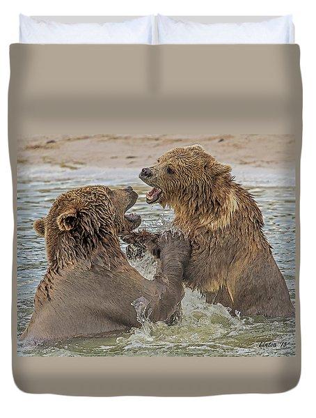 Brown Bears Fighting Duvet Cover