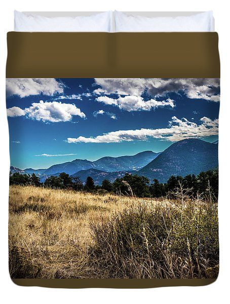Duvet Cover featuring the photograph Brown Grass And Mountains by James L Bartlett
