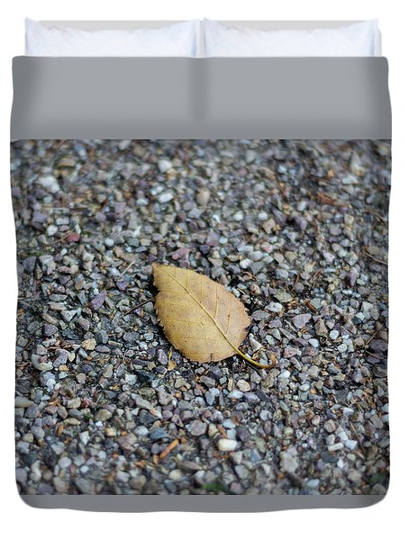 Duvet Cover featuring the photograph Brown Leaf On Gravel by Scott Lyons