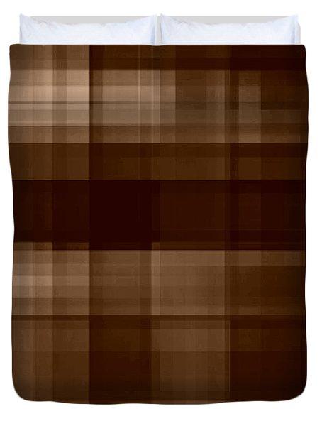 Duvet Cover featuring the digital art Brown Plaid by Rachel Hannah