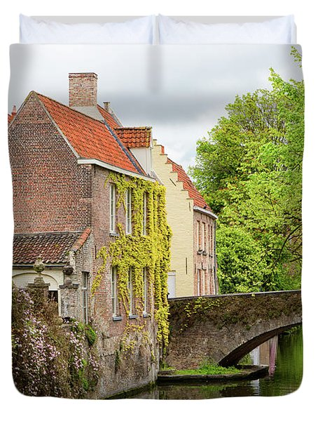 Bruges Footbridge Over Canal Duvet Cover