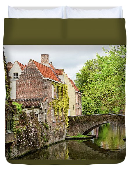 Duvet Cover featuring the photograph Bruges Footbridge Over Canal by Nathan Bush