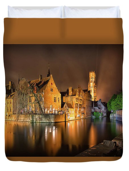 Duvet Cover featuring the photograph Brugge Belgium Belfry Night by Nathan Bush