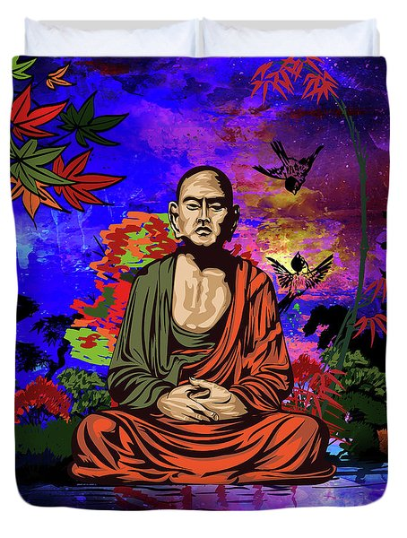 Buddhist Monk. Duvet Cover