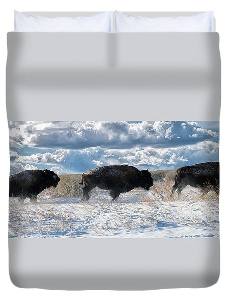 Duvet Cover featuring the photograph Buffalo Charge.  Bison Running, Ground Shaking When They Trampled Through Arsenal Wildlife Refuge by OLena Art Brand