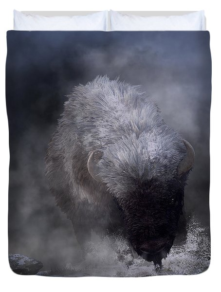 Duvet Cover featuring the digital art Buffalo Charging Through Snow by Daniel Eskridge