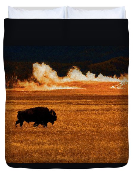 Buffalo Fire Sunset Duvet Cover