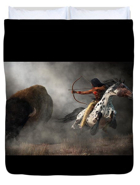 Duvet Cover featuring the digital art Buffalo Hunt by Daniel Eskridge