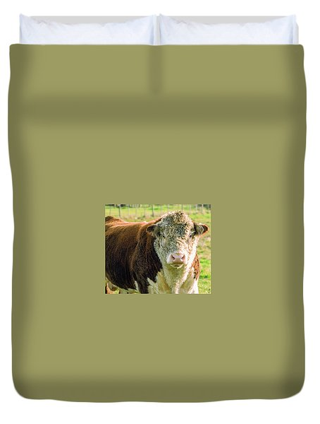Bull In The Country Side Of Tasmania. Duvet Cover