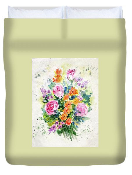 Duvet Cover featuring the painting Bunch Of Flowers by Asha Sudhaker Shenoy
