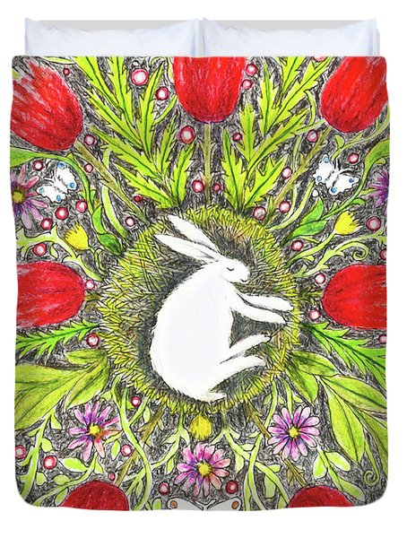 Bunny Nest With Red Flowers And White Butterflies Duvet Cover