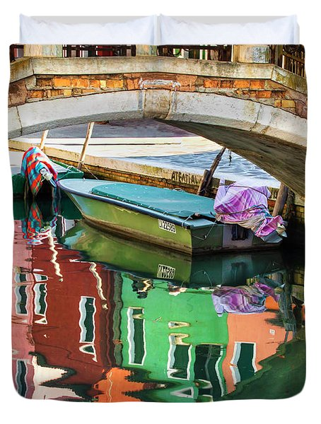 Burano Bridge Reflections Duvet Cover