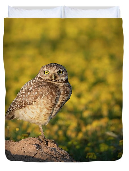Burrowing Owl In Spring Flowers Duvet Cover
