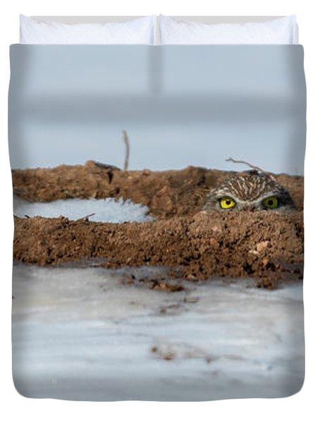 Burrowing Owl Peeking From A Snowy Burrow Duvet Cover
