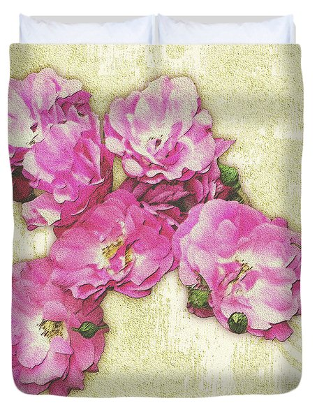 Bush Roses Painted On Sandstone Duvet Cover