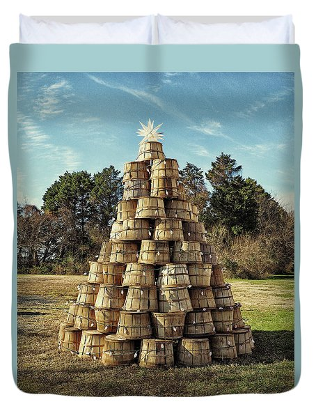 Duvet Cover featuring the photograph Bushel Basket Christmas Tree by Bill Swartwout Fine Art Photography
