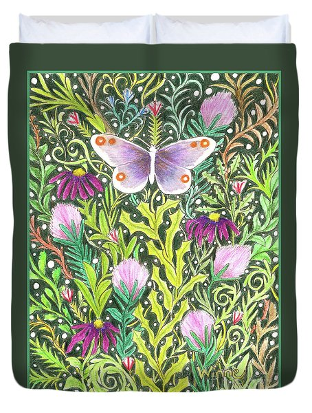 Butterfly In The Millefleurs Duvet Cover