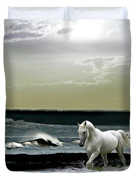 By The Light Of The Silvery Moon Duvet Cover