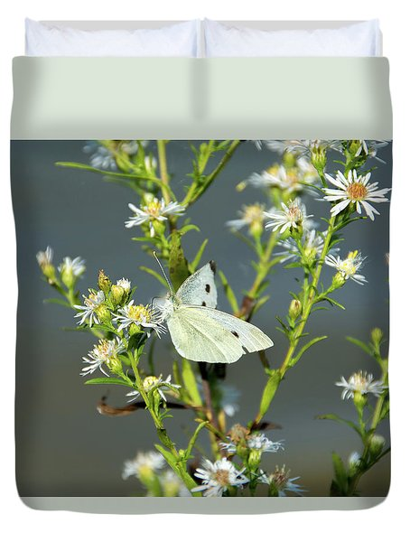 Cabbage White Butterfly On Flowers Duvet Cover
