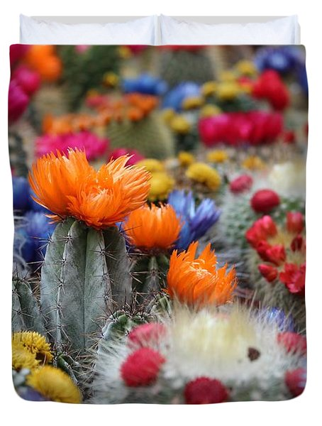 Duvet Cover featuring the photograph Cacti Flowers by Top Wallpapers