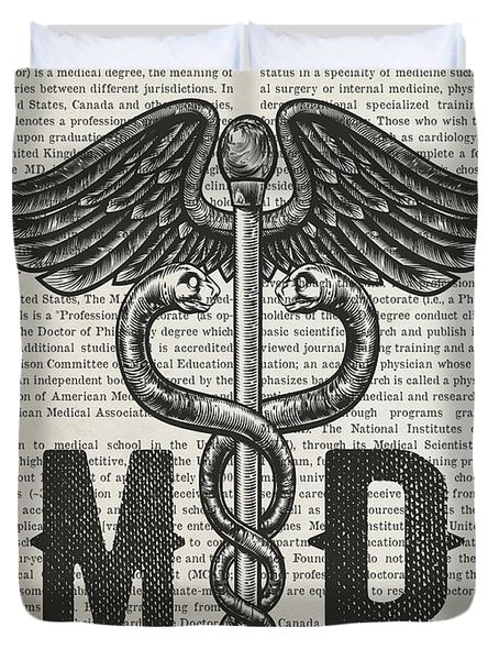 Caduceus Doctor Of Medicine Gift Idea With Caduceus Illustration Duvet Cover