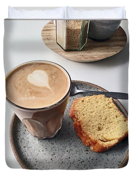 Cafe. Latte And Cake.  Duvet Cover