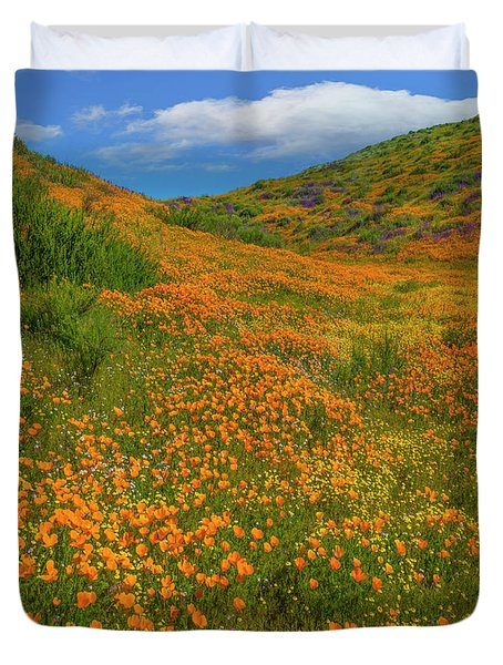 California Poppy Spring Bloom, Diamond Duvet Cover