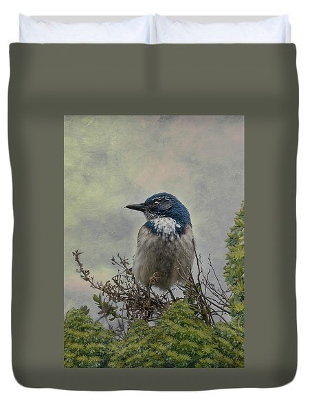 Duvet Cover featuring the photograph California Scrub Jay - Vertical by Patti Deters