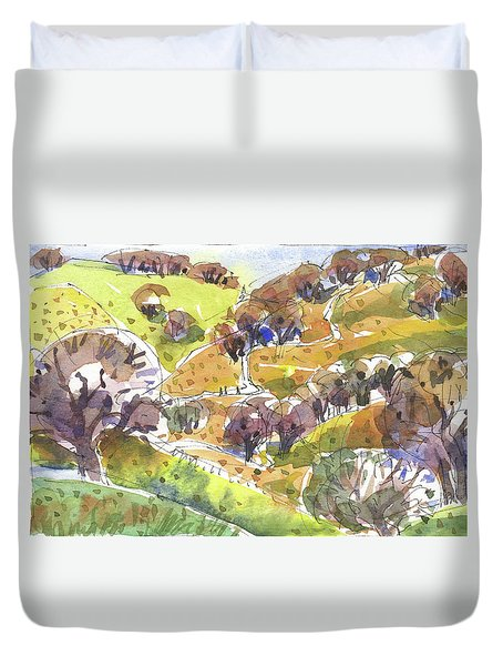 Duvet Cover featuring the painting California Winter Landscape by Judith Kunzle