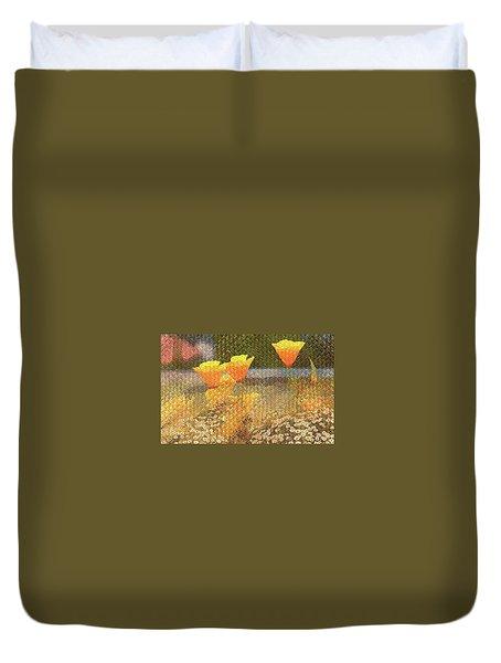 Californian Poppies On Basket Weave Duvet Cover