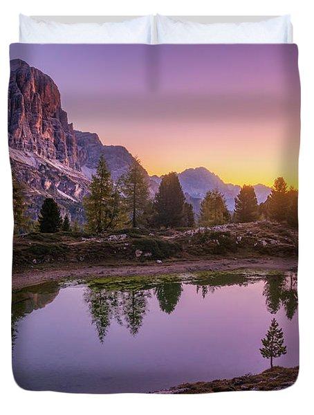 Calm Morning On Lago Di Limides Duvet Cover