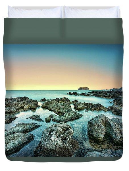 Calm Rocky Coast In Greece Duvet Cover