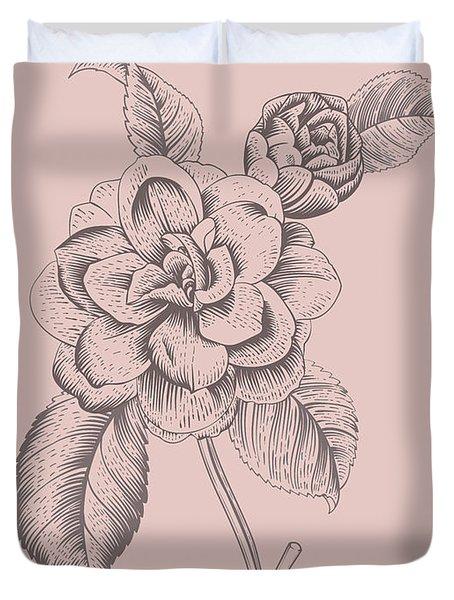 Camellia Blush Pink Flower Duvet Cover