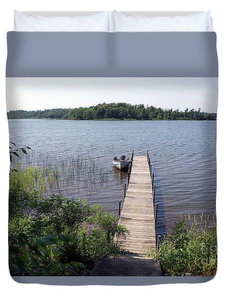 Duvet Cover featuring the photograph Camelot Island Borden Lake by Gary Eason