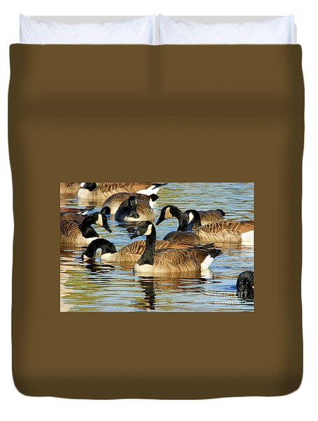 Duvet Cover featuring the photograph Canada Geese by Debbie Stahre