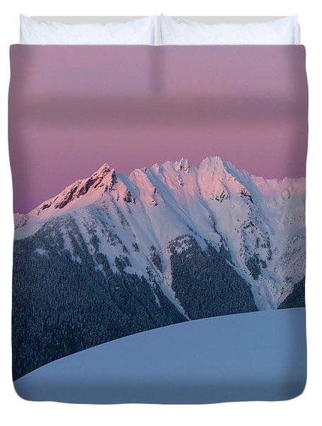 Canadian Border Peaks Alpenglow Duvet Cover