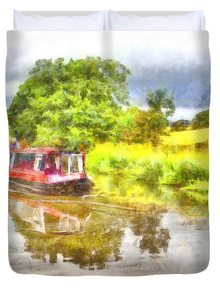 Canal Boat On The Leeds To Liverpool Canal Duvet Cover