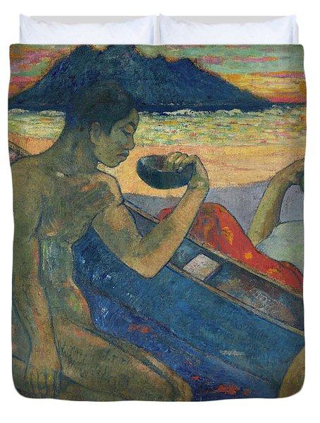 Canoe, Tahitian Family, 1896 Duvet Cover