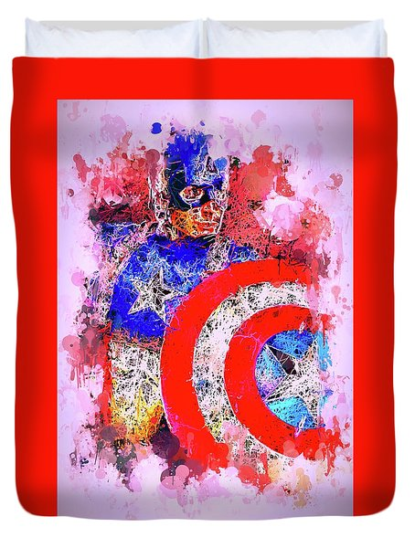 Captain America Watercolor Duvet Cover