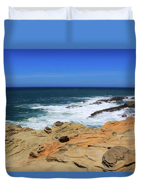 Duvet Cover featuring the photograph Cape Arago Coast 6 by Dawn Richards
