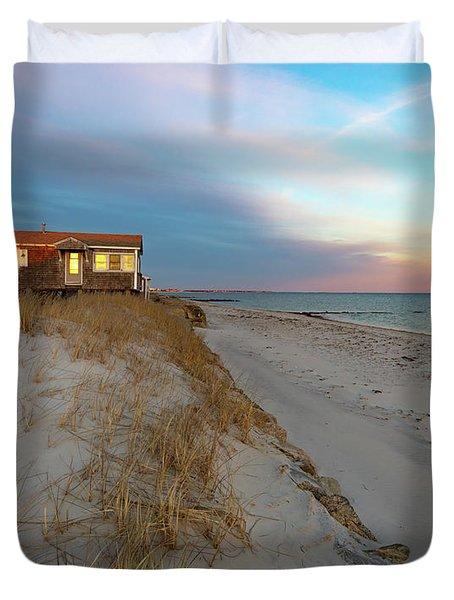 Cape Cod Beach House At Sunset Duvet Cover