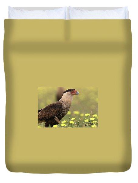 Caracara In Wildflowers Duvet Cover