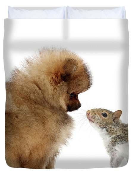Careful I May Contain Nuts Duvet Cover