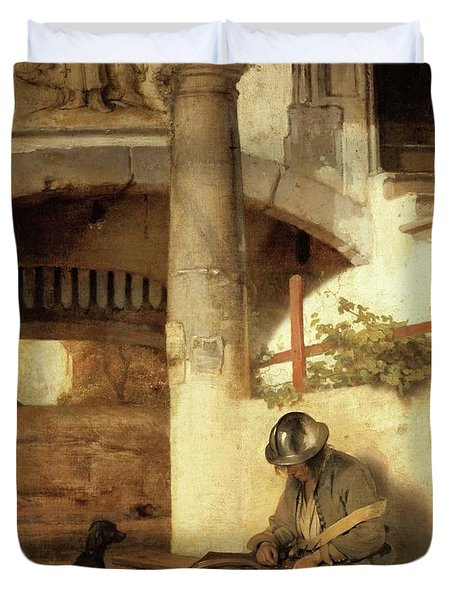 Carel Fabritius The Gate Guard/the Sentry, 1654. Painting. Oil On Canvas. Duvet Cover