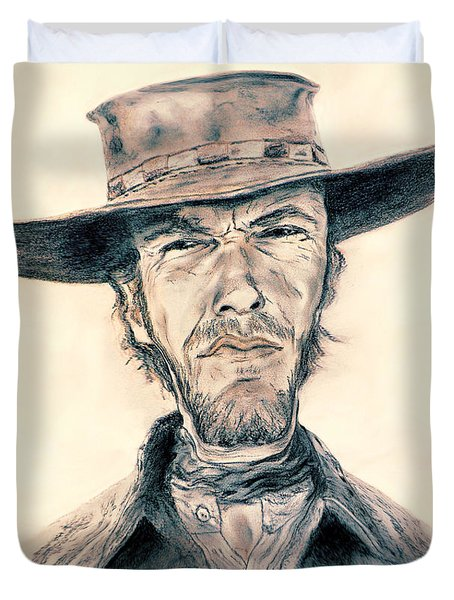 Caricature Of Clint Eastwood As Blondie In The Good The Bad The Ugly Duvet Cover